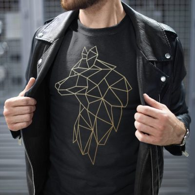 Geometrical abstract Gold Wolf Shirt